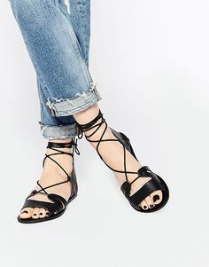 Image 1 of ASOS FUERTA Lace Up Leather Sandals