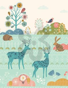 Patterned Forest, Woodland Creatures Art Prints | Oopsy daisy