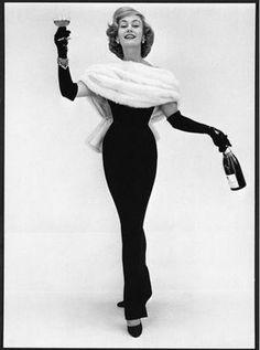 1956: Model Jean Dawnay wearing British designer Norman Hartnell [photo: John French]