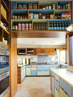 SHED Architecture. Seward Park Remodel. Green and blue kitchen. Projects > Residential