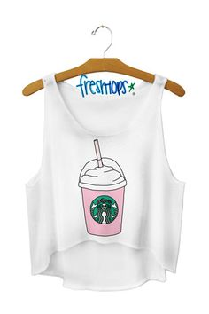 Strawberry Frap Love Crop Top fresh tops ♡