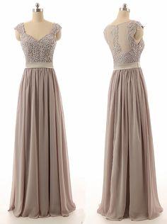 Hot Selling Sweetheart Floor Length Chiffon Grey Bridesmaid Dress With Beading