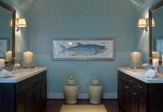 I love the mix of masculine and feminine in this bathroom-- I've gotta figure out how to make that work!