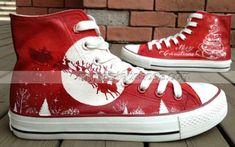 #Christmas Shoes Christmas High-top Painted Canvas Shoes