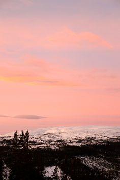 Pink sky in Åre, Sweden