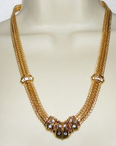 JBK Jackie Kennedy Rhinestone Necklace Costume Jewelry Orange Purple Clear | eBay sold