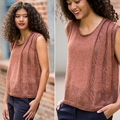 "This tee knitting pattern (let's call it a ""borderline tank"") combines the drape and fall of a classic Greek chiton with a wearable, modern shape. The folds of the fabric create an A-line silhouette, and the touch of lace hidden inside the pleat adds a feminine touch."