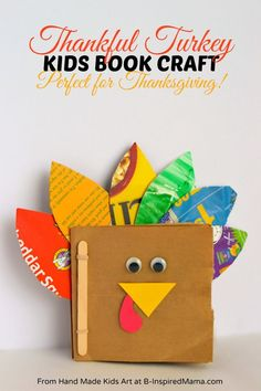 Thanksgiving Crafts for Kids - A Thankful Turkey Book - B-InspiredMama.com