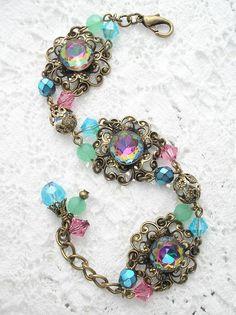 Enchanted Rainbows Vintage Vitrail Gl Jewel Bracelet