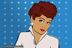 """Caricature of Lucille Ball """"I Love Lucy"""" created by Sandi Fender - www.SandiPants.com - in Adobe Illustrator"""