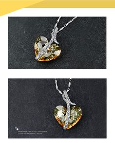 Beautiful Pure Love 925 Sterling #Silver - #Golden & #White #Indian #Jewelry #Swarovski #crystal #Pendant