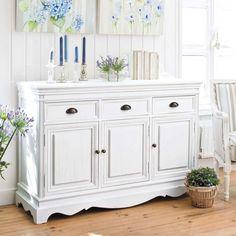 Buffet en bois de paulownia blanc L 131 cm Joséphine | Maisons du Monde