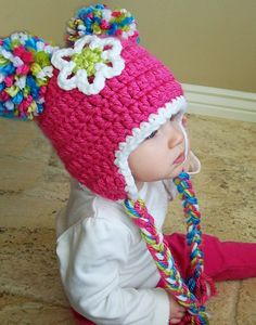 Spunky Crochet Pom Pom Beanie Hat for Babies and Children. $24.99, via Etsy.