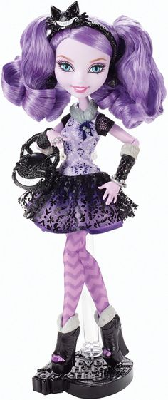 Ever After High Kitty Cheshire. Kitty is the daughter of the Cheshire Cat from Alice's Adventures in Wonderland. Kitty's always up to some mischeve. Kitty's curiousity gets her in trouble some times.