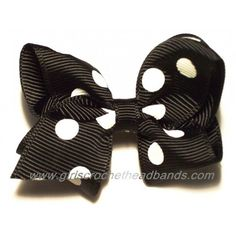 Classic yet trendy black & white polka dot hair bow for little girls only $1.50!