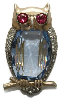 Sterling Mazer Glass Belly Rhinestone Owl Clip Pin 1940s