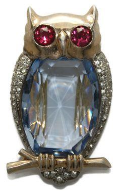 Sterling Mazer Glass Belly Rhinestone Owl Clip Pin 1940s