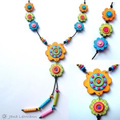 polymer clay - A remake of a necklace I made 2 years ago. I used the wrong varnish for the original necklace and I always wanted to make a new one, finally I did it. Polymer Clay Flowers, Polymer Clay Necklace, Fimo Clay, Polymer Clay Projects, Polymer Clay Creations, Polymer Clay Beads, Plastic Fou, Diy Fimo, Biscuit