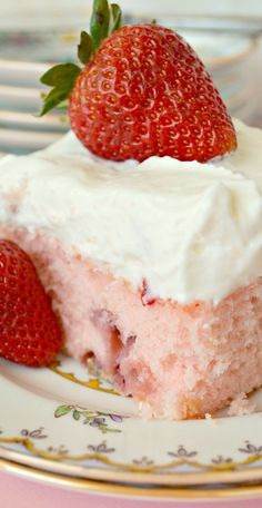Strawberry Sheet Cake with Lemon Cream Cheese Frosting. This cake is absolutely to die for delicious!