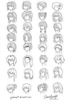 Как нарисовать аниме волосы карандашом поэтапно?