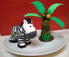 Palm tree and zebra made from rice crispy treats and fondant