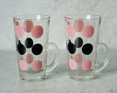 Pair Fire King Patio Polka Dot Glass Mugs - Pink and Black Polks Dot Glass Tumblers - 1950s Fire King Glass Mugs