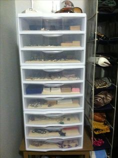 When you can't afford a jewelry armoire... Cheap, easy, DIY jewelry storage. Drawers bought in sets of 3, stackable, lined with cream lining bought at a dollar store. Use any color you want. And because of the rubber, nothing slides around.