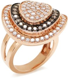 Pave White & Champagne Diamond Dome Ring on shopstyle.com