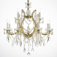 @Overstock - This gorgeous antique crystal chandelier by Maria Theresa provides an air of elegance to any home decor. This exquisite chandelier has 13 lights crafted on two tiers and features dazzling crystals draping down over the gold-tone fixture.http://www.overstock.com/Home-Garden/Maria-Theresa-13-light-2-tier-Antique-French-Gold-Crystal-Chandelier/5675842/product.html?CID=214117 $450.99
