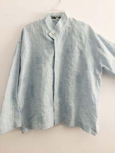 SHIRIN GUILD jacket lagenlook light blue Linen One Size