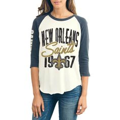 Women's New Orleans Saints Junk Food Cream All American Raglan Three-Quarter Length Sleeve T-Shirt