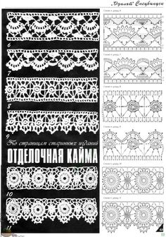 How to Crochet Wave Fan Edging Border Stitch - Crochet Ideas Crochet Edging Patterns, Crochet Lace Edging, Crochet Borders, Crochet Diagram, Crochet Chart, Lace Patterns, Thread Crochet, Irish Crochet, Crochet Designs