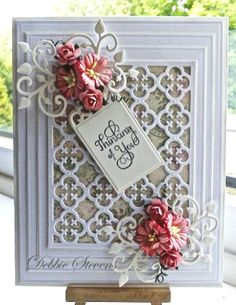 Another card using Spellbinders Grand rectangles,Spellbinders gift ensemble, Spellbinders our daily bread quatrefoil, Spellbinders antique frame and accents, the sentiment i. Tarjetas Diy, Spellbinders Cards, Embossed Cards, Beautiful Handmade Cards, Marianne Design, Pretty Cards, Paper Cards, 3d Cards, Sympathy Cards