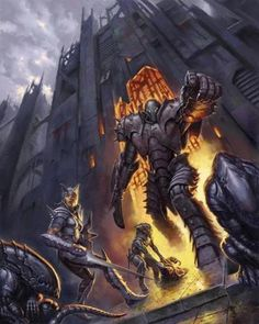 todd lockwood - lord of the iron fortress Dream Fantasy, High Fantasy, Fantasy Rpg, The Elder Scrolls, Fantasy Monster, Monster Art, Fantasy Paintings, Fantasy Artwork, Iron Golem