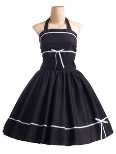 1950s Halterneck Black Retro Style Dress