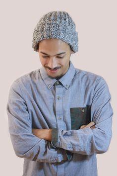 Grey/Black Ribbed Folded Hat. Men