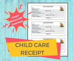 This is a digital downloadable child care receipt to be given to parents when they make a payment for child care services you provide at your child care program. This complete printable document is designed for licensed childcare centers, in home daycares, and preschools. Child Care Services, Starting A Daycare, Word F, Daycare Forms, Young Life, Letter Size Paper, Childcare, Daycares, Preschools