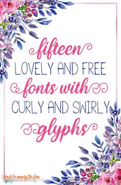 These 15 Free Fonts with Glyphs are some of the twirliest and swirly beauties in the typography world. And they're all free! Cute Fonts, Pretty Fonts, Beautiful Fonts, Typography Fonts, Hand Lettering, Chalkboard Lettering, Calligraphy Fonts, Brush Lettering, Kid Fonts Free