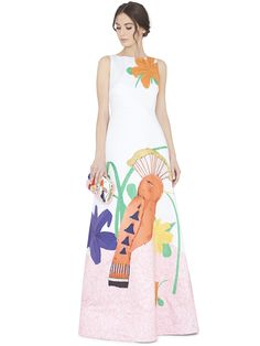 HONEY PRINTED EMBELLISHED ALINE GOWN by Alice + Olivia