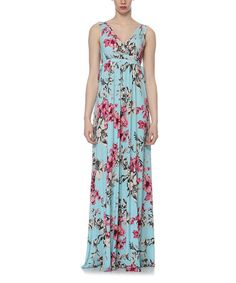 Love this Turquoise Empire-Waist Maxi Dress by Elfe on #zulily! #zulilyfinds