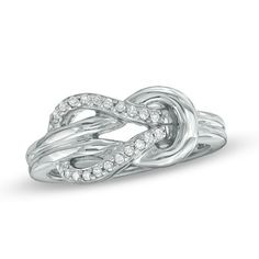1/10 CTW. Diamond Knot Ring in Sterling Silver - Size 7 - Zales - $123.50