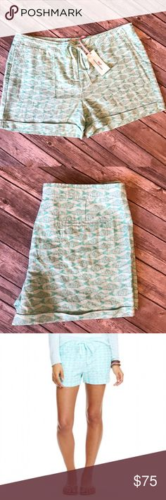 ✨HP✨ Vineyard Vines Shorts Vineyard Vines Fish Print Shorts.  These are an adorable pattern in a gorgeous mint Green color (but called Crystal Blue on the tag).  These shorts are sold out online.  They are 100% premium linen.  They have a hook closure, zipper, and tie.  Nice flat pockets on the front and back for a slimming look!  Absolutely love the Shorts! Vineyard Vines Shorts