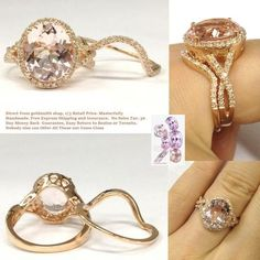 Oval Morganite Engagement Ring Bridal Set Infinite Love Shank14K Rose Gold 10x12mm