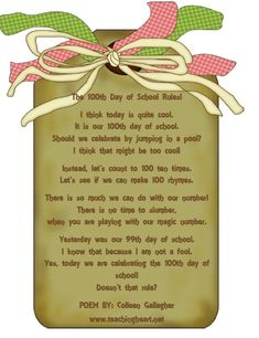 100 Day of School activities: LOTS of cute ideas, lessons & links for the Day of school. 100 Day Of School Project, 100 Days Of School, School Fun, School Stuff, School Ideas, Classroom Fun, Classroom Activities, Poems About School, 100s Day