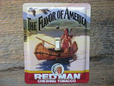 Switch plate made from a Red Man tobacco tin for cabin lighting rustic decor by Tin Can Sally