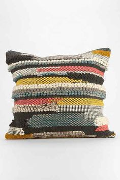 Hooked Stripe Pillow - Urban Outfitters like this idea if we can figure out how do it.  be awesome in 2 color stories : (1) black, gray, white.  (2) dark indigo, medium indigo, white