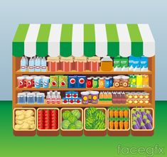 Cartoon food convenience store vector