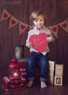Valentine's Day Red Heart Garland Burlap Banner Photography Prop on Etsy, $26.00