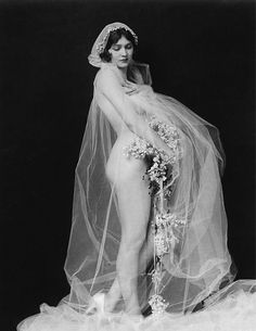 """Bride"" Ziegfeld girl by Alfred Cheney Johnston vintag, cheney johnston, lora foster, brides, ziegfeld girl, veil, ziegfeld folli, alfr cheney, photo"