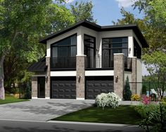 Garage apartment plans are closely related to carriage house designs. Typically, car storage with living quarters above defines an apartment garage plan. View our garage plans. Modern House Plans, Small House Plans, Modern House Design, House Floor Plans, Modern Houses, Garage Apartment Plans, Garage Apartments, Plan Garage, Carriage House Plans